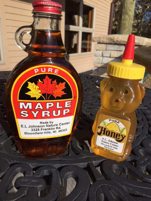 Local Honey and Maple Syrup for purchase at Nature Center