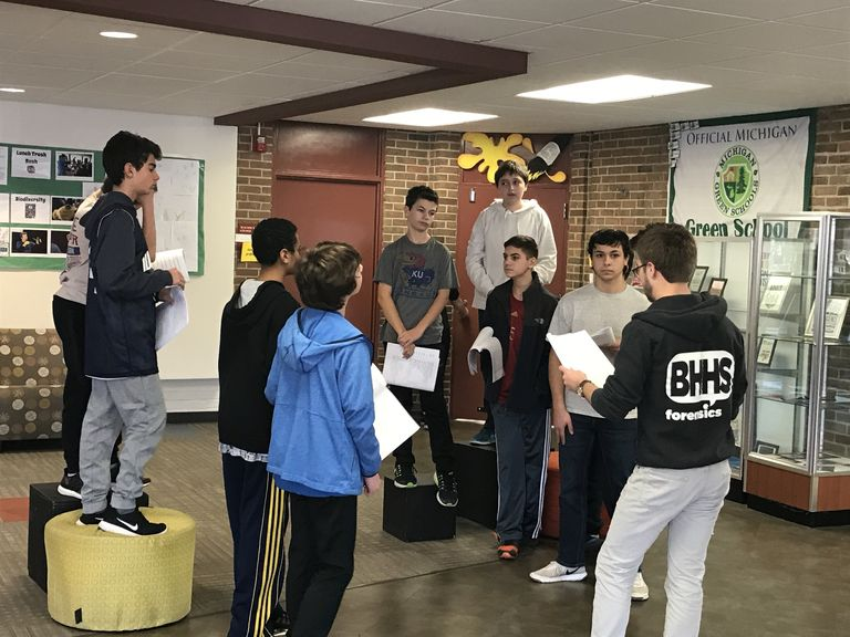 8th Grade Drama classes receive visits from college students