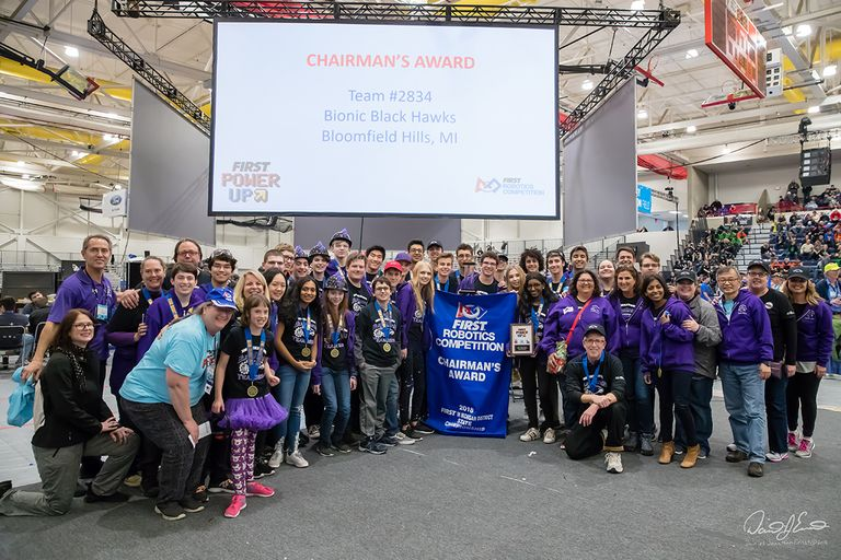 BHHS Bionic Black Hawks Win 3rd straight FIRST Robotics Michigan State Chairman's Award