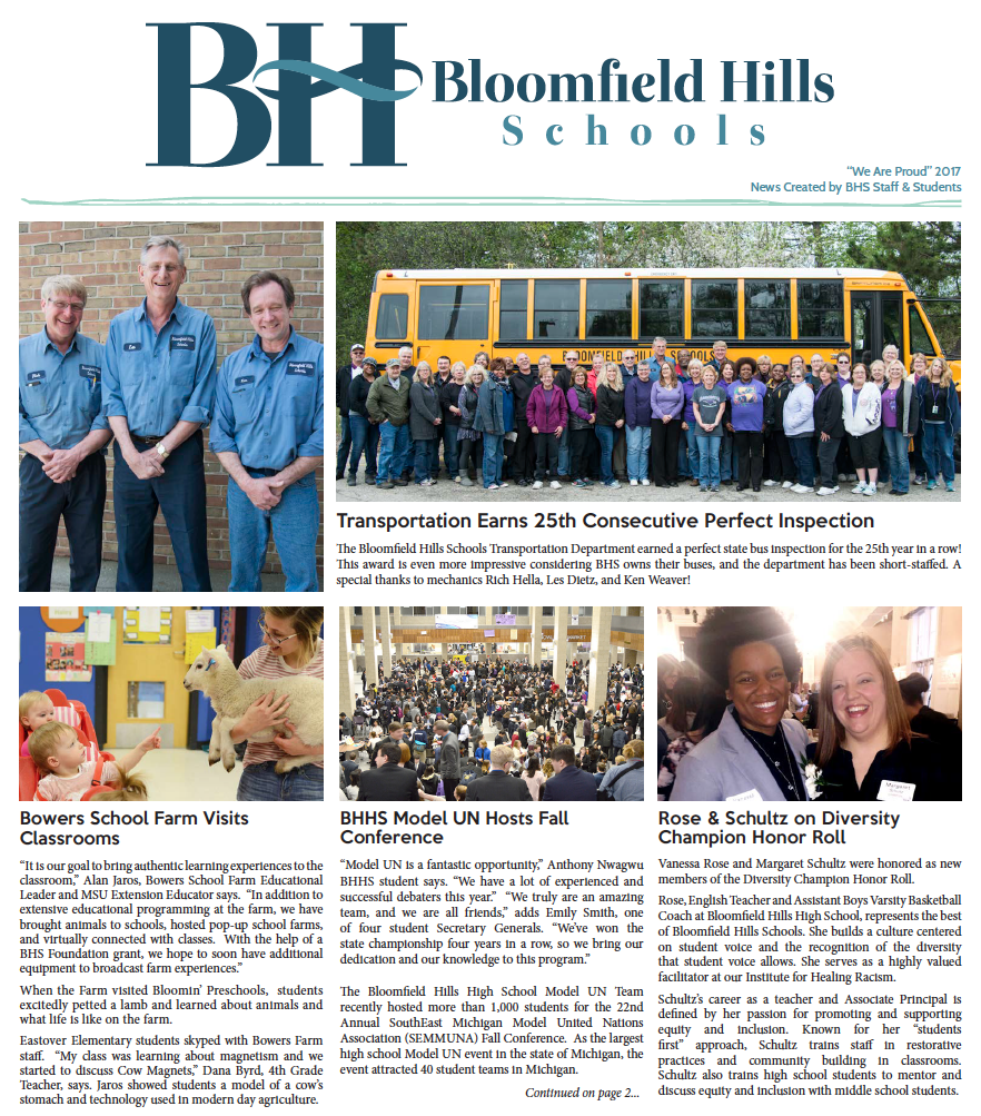 BHS Newsletter We Are Proud 2017 Cover