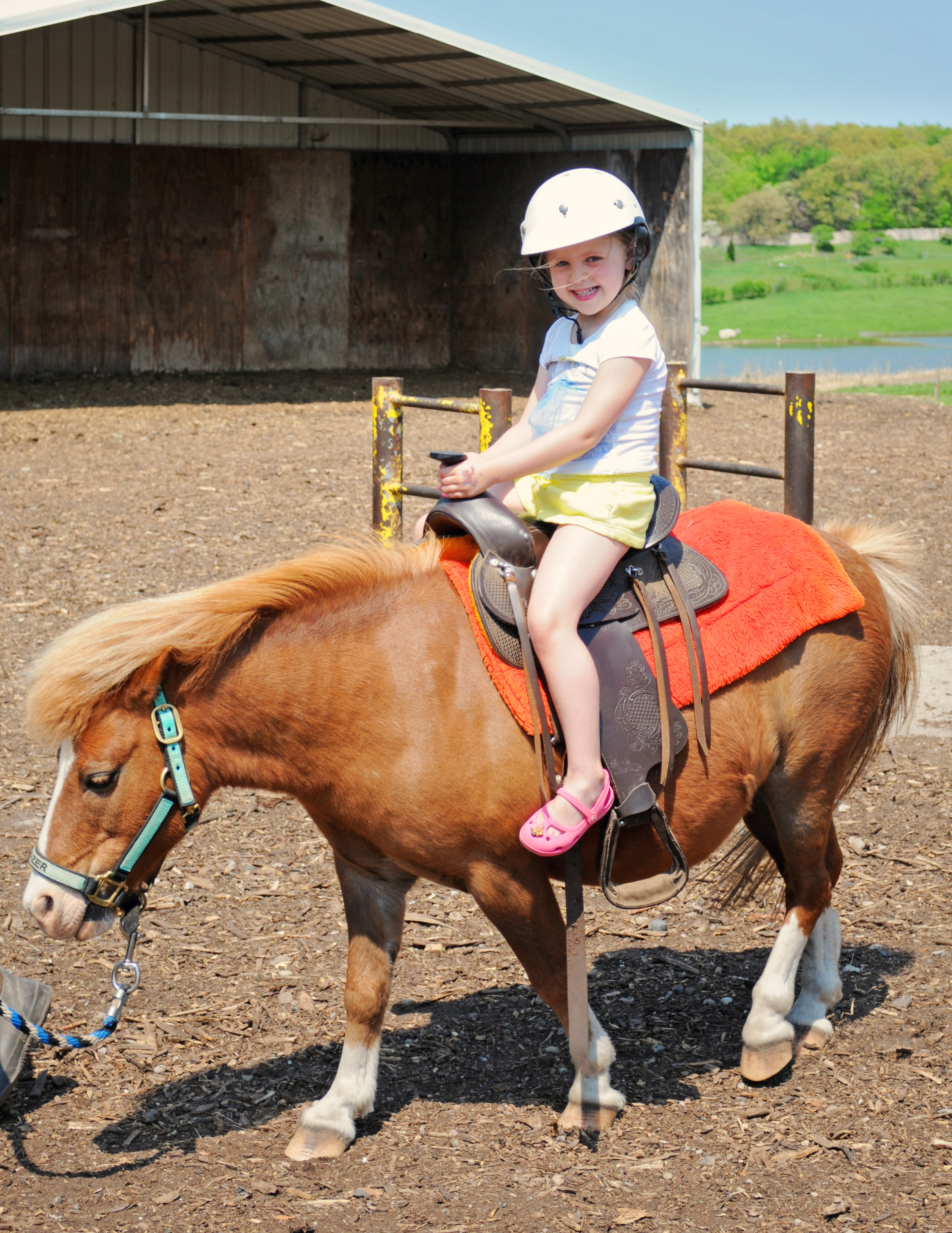 Student riding horse at Michigan's Bowers School Farm