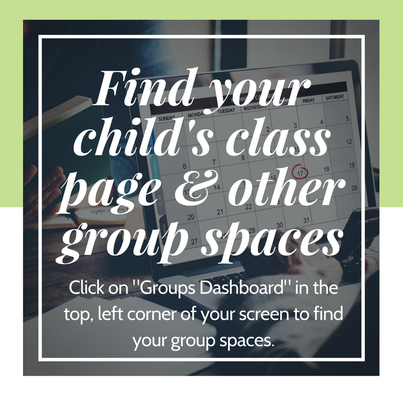 Find your group spaces by clicking the Groups Dashboard button in the top left corner of the page