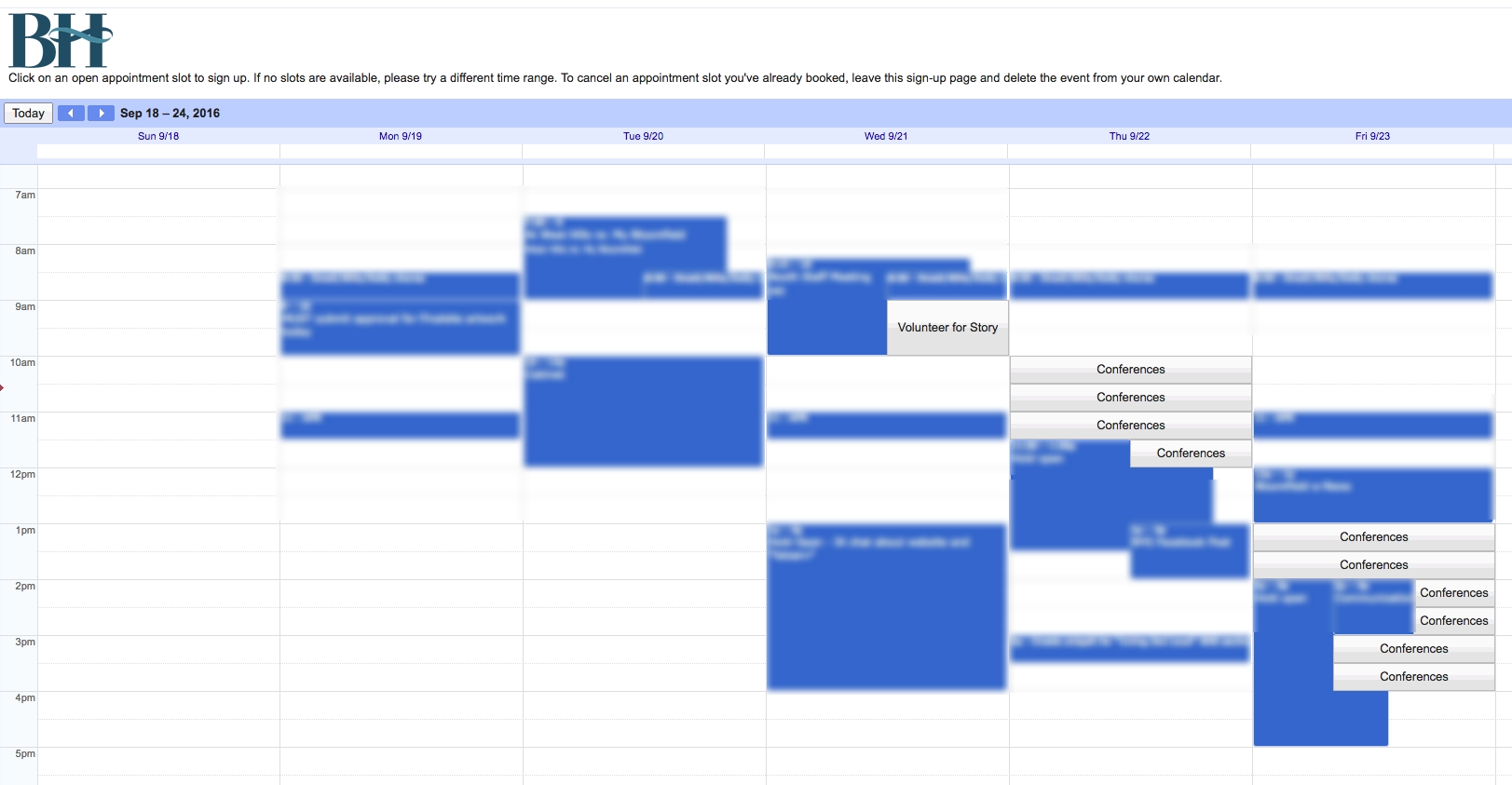 Parent view of Google Calendar
