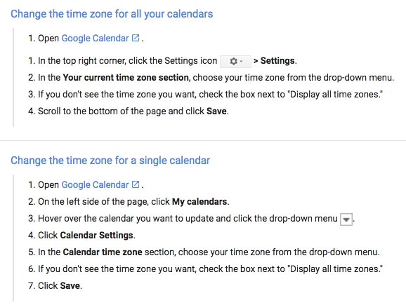 Google instructions for time zone change