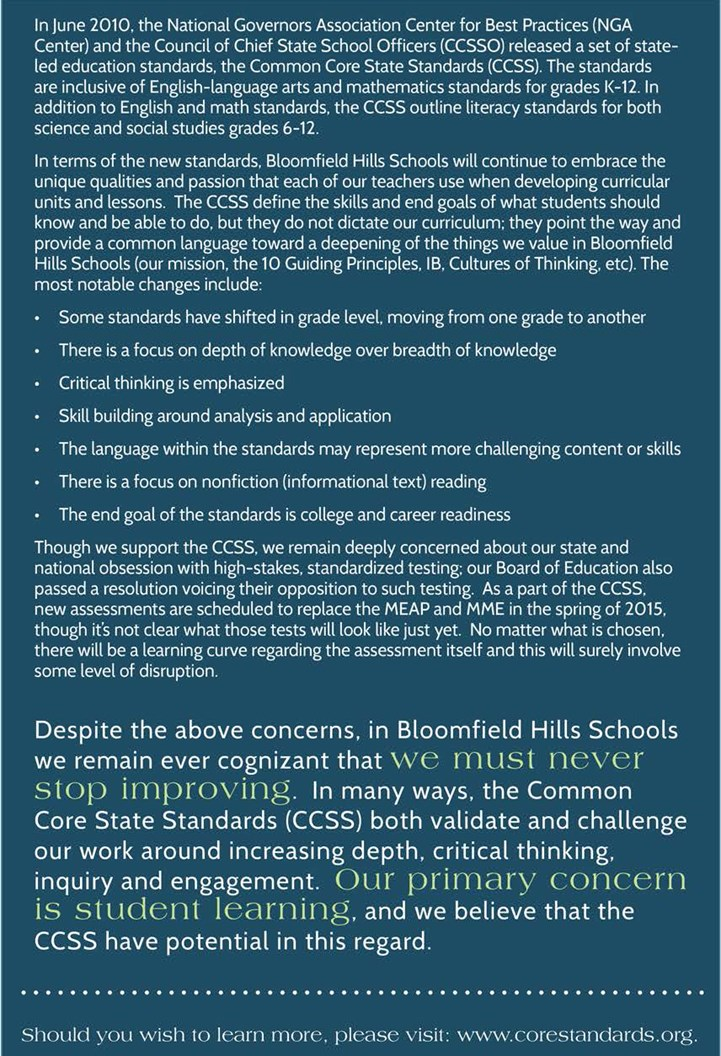 Info about Common Core at Bloomfield Hills Schools