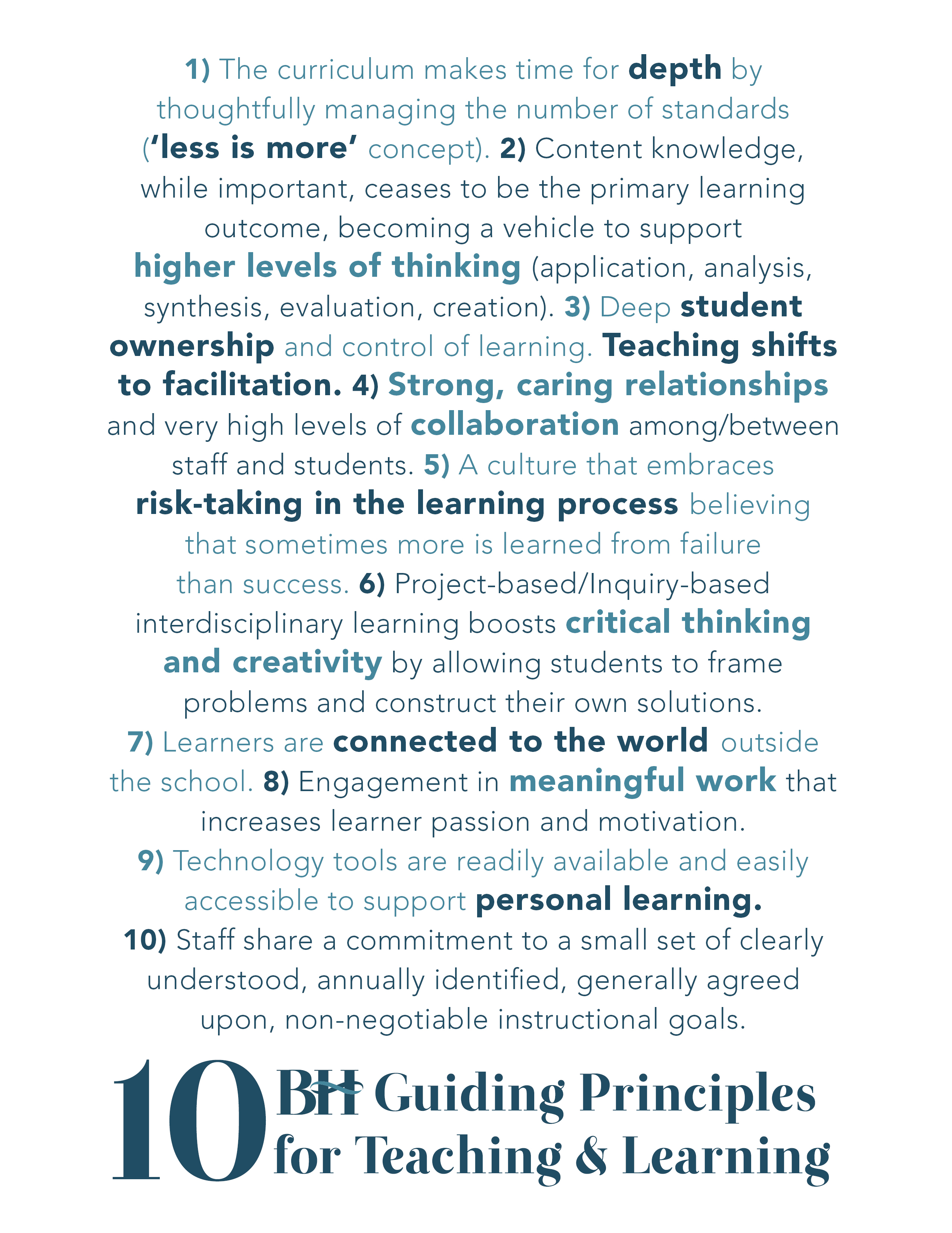 Ten Guiding Principles at one of the best schools in Michigan, Bloomfield Hills Schools