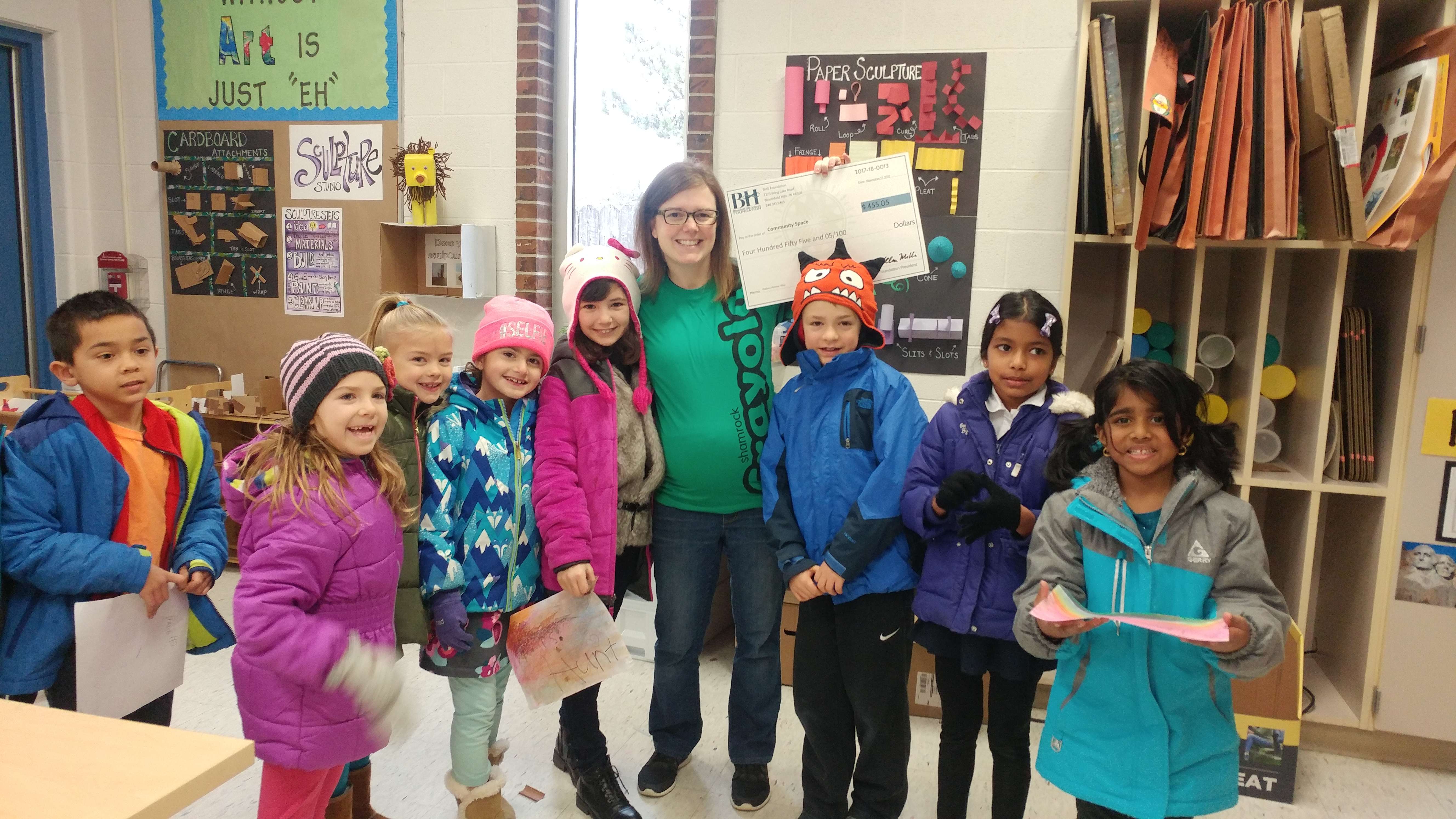 Way Elementary Students Celebrate a new art grant.