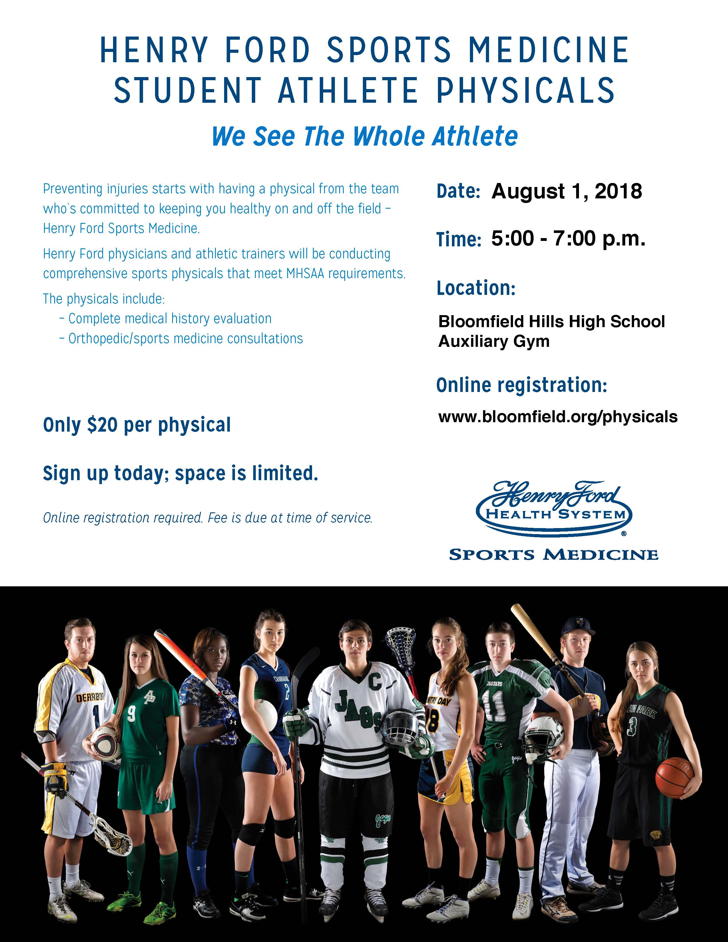 Henry Ford Sports Medicine Student Athlete Physicals Flyer